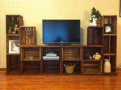 Entertainment stand made from crates.
