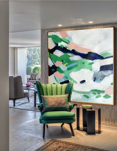 Hand Made Large Acrylic Painting On Canvas, Abstract Painting Canvas Art. Large Wall Art Canvas, Pink, Blue, Black, Yellow, Gray, Green.