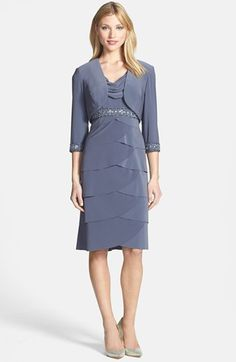 Alex Evenings Tiered Dress & Bolero (Petite) available at #Nordstrom  MOB dress