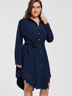 Casual Shirt Dress Women Autumn New Arrivals Fashion Openwork Scalloped Long  Sleeve Ladies Dress Plus Size ee8441e868c0