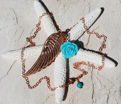 Angel Wing Necklace Copper Turquoise Charm by ornatetreasures, $21.50