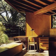 The Schaffer Residence, 1949 by American architect John Lautner. Hidden in a wooded valley at the foot of the Verdugo Mountains, the redwood, concrete and glass residence opens to the oak forest that influenced the form and orientation of the design. The property was used as the home of the title character in Tom Ford's 'A Single Man'. #roomonfire