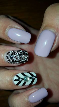 Lilac  white and black nails