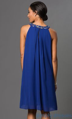 Shop royal-blue party dresses and cocktail dresses with beaded collars at Simply Dresses. Mother-of-the-bride dresses and wedding-guest dresses here