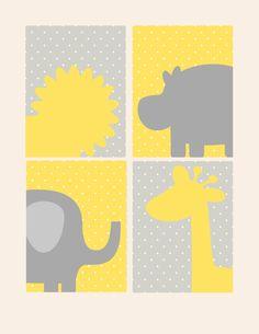 Nursery Decor- Kids Wall Art Prints- Set of 4 Prints- Gray and Yellow- Zoo Animals- Polka Dots- Elephant Giraffe Lion Hippo- 4 8x10 Prints. $48.00, via Etsy.