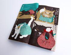 Japanese fabric tenugui book Maneki neko Fotune Cats, tenugui book, japanese furoshiki fabric, kawaii fabric,Tenugui, kimono fabric, yukata $28.00 USD by japanmomijidesigns, based in Japan and selling on Etsy