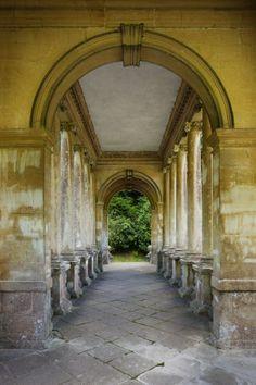 A view through the loggia of the Palladian Bridge at Prior Park Landscape Garden, Bath, Somerset. National Trust - Andrew Butler