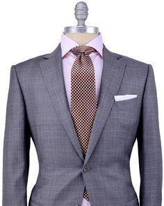 ERMENEGILDO ZEGNA Medium Grey with Camel and Taupe Glen Plaid Suit