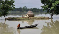 Aldeão indiano passa de barco por local inundado na vila Buraburi, no distrito Morigaon do estado de Assam. Foto: Biju Boro/AFP