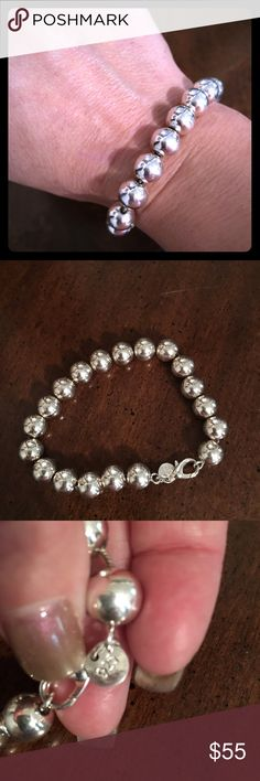 Sterling silver beaded bracelet Heavy sterling silver beaded large lady's bracelet.. very pretty can dress this up or down Jewelry Bracelets