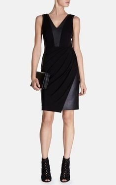 Karen millen black jersey dress faux leather panels