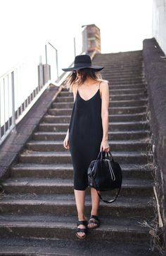 Effortlessly chic little slip dress and wide brimmed hat combo.  Obsessed.  This reminds me of @ChelseySpear !
