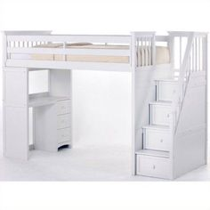 Hillsdale School House Stair Loft With Desk End, White