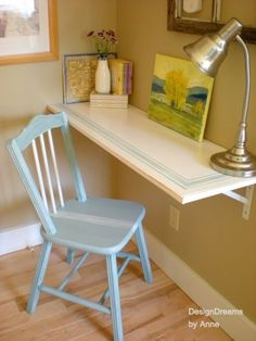 Cottage Industrial style home tour - Debbiedoo's. Adding a small desk anywhere. THIS DESK i love for its stencil and practical simpicity Style Cottage, Simple Desk, Desk Shelves, Bedroom Themes, Bedroom Ideas, Bedrooms, My New Room, Diy Furniture, Painted Furniture