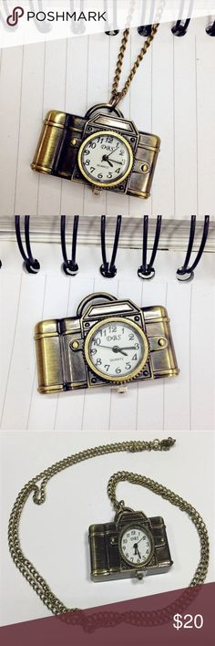 Antique Bronze Camera Pendant Watch Necklace  Antique Bronze Camera Design Pendant Pocket Watch Necklace   New Arrival   Offers are welcome. H.O.P. Jewelry Necklaces