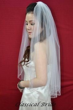 PRINCESS  --  Ivory or White 1 Tier 30 Inch Elbow Veil w/ a Silver Bugle Beaded Edge for bridal wedding. $40.00, via Etsy.