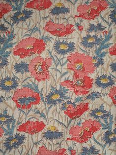 Poppies and Cornflowers printed fabric.  Flowers that take me back to my childhood.