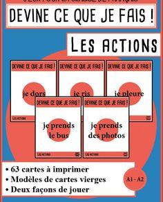 """Cartes à faire deviner en FLE : """"Devine !"""" sur les actions Catalog, Teaching, Education, School, French Lessons, Games, Blue Prints, Grammar Games, Vocabulary Games"""