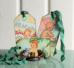 Your place to buy and sell all things handmade Vintage Nursery Decor, Chubby Babies, Old Paper, Vintage Ephemera, Treat Bags, Vintage Designs, Gift Tags, Baby Shower Gifts, New Baby Products