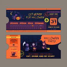 Diseño de invitación de fiesta de halloween Ticket Card, Ticket Invitation, Invitation Design, Halloween Invitaciones, Party Tickets, Halloween Party Invitations, Wedding Templates, Halloween 2018, Vector Free