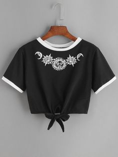 New Fashion Women T Shirt Summer Kawaii Embroidery Rose Aliens T-Shirts Harajuku Casual Tops Tees Female T shirt T-shirt Russia Crop Top Outfits, Mode Outfits, Summer Outfits, Casual Outfits, Girl Outfits, Fashion Outfits, Fashion Clothes, Harajuku Fashion, Fashion Ideas