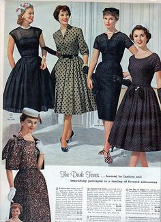 Five fabulous little black dresses. full skirt with the fitted bodice style. so stylish! 1960s Dresses, Vintage Dresses, Vintage Outfits, Vintage Clothing, Vintage Fashion 1950s, 1960s Fashion, Club Fashion, 20th Century Fashion, Fashion History