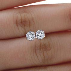 Forever One 2.00 ct Round Cut Moissanite 14k White Gold Screw-back Stud Earrings #AJjewelworld #Stud