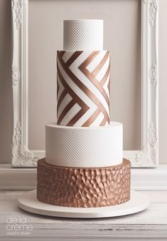 Copper & Ivory Wedding cake by Heidi Holmon on satinice.com!