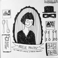 """I like to look for things no one else catches"" Amelie, Audrey Tautou, Destin, Sketch Inspiration, Graphic Illustration, New Art, Doodles, Artsy, Sketches"
