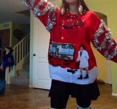 Want the best Ugly Sweater for you Christmas party??? This listing is made to order and has a picture of Cousin Eddie in his bath robe by his RV emptying the crapper. Merry Christmas with lights tangled up all around Merry Christmas. The lights have 2 settings and can either blink or stay on (batteries not included). Cousin Eddie has faux chest hair glued on and also on his legs. Sizes come in S,M,L,XL,XXL,XXXL All sweaters are new and not purchased second hand. Only comes in red.