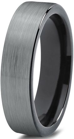 Tungsten Wedding Band Ring 4mm for Men Women Comfort Fit Black Pipe Cut Brushed -- Check out this great image  : Fashion Jewelry