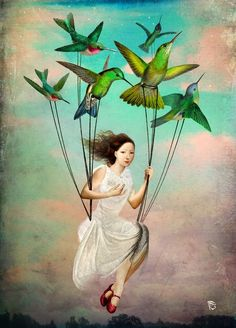 """""""Take me somewhere nice"""" by Christian Schloe - Buy """"Take me somewhere nice"""" as Poster by Christian Schloe and many more photos, posters and art prints on ARTFLAKES. Art And Illustration, Fantasy Kunst, Fantasy Art, Art Fantaisiste, Surrealism Painting, Pop Surrealism, Whimsical Art, Surreal Art, Bird Art"""