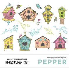 INSTANT DOWNLOAD   Birdhouses Doodle Clipart Set  by PepperStudio