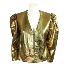 1980's Bill Blass Metallic Leather Jacket