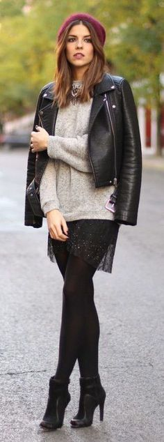 grey jumper, lacy skirt, leather jacket, heeled boots