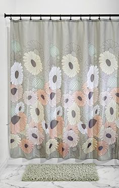 MDesign OxEye Daisy Fabric Shower Curtain 72 X 72 Pastel Multi Color ** To  View