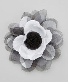 Black & White Organza Flower Hair Clip by Lil Miss Sweet Pea #zulily #zulilyfinds
