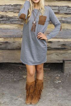 Don't usually like the fringe boots but they're cute with this ...