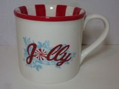 Starbucks Mug Christmas Jolly Holiday Cup Red Stripes Peppermint 2007 14oz 414ml
