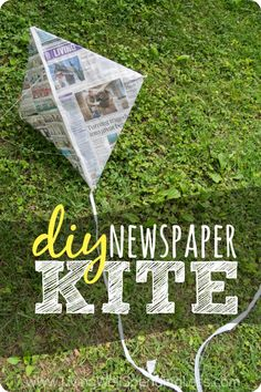 Need another idea to keep your kids busy this summer?  Why not tell them to go fly a kite?  This fun  easy DIY newspaper kite is a classic childhood activity that your kids will remember for years to come!