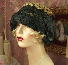 The brim is covered with a soutache embroidered trim. Couture and One of a Kind. Be sure to measure around your ears as cloche hats fit over them. This Hat can be made slightly smaller on request.   eBay!
