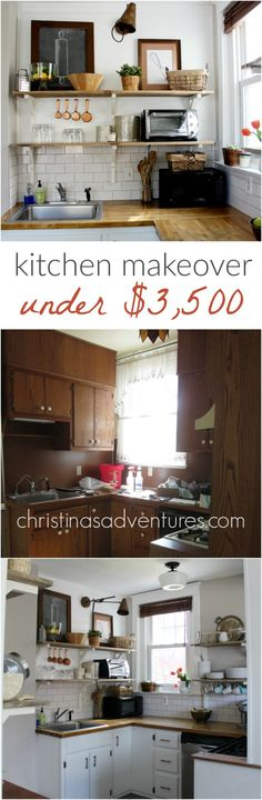 DIY Kitchen Remodel Cost: Full source list and cost breakdown for a small budget kitchen makeover with open shelving, painted cabinets, subway tile & more! Kitchen Renovation Cost, Kitchen Remodel Cost, Kitchen On A Budget, Home Renovation, Home Remodeling, Kitchen Remodeling, Diy Kitchen Shelves, Kitchen Decor, Kitchen Cabinets