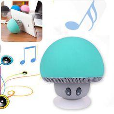 Cute-Mini-Green-Mushroom-Bluetooth-Speaker-Suction-Cup-Holder-For-Phone-iPhone