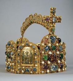 The imperial crown:     West German    Second Half of the 10th Century, Crown Cross addition from the early 11th century.