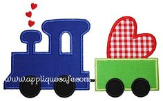Valentine Train Applique Design