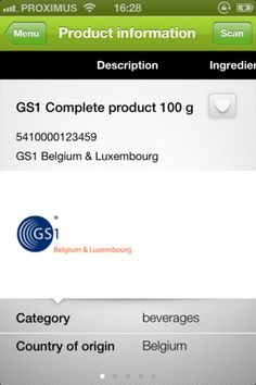 Build Trust with Scanning GS1 - Belux ; connect consumer to the GDSN-info.