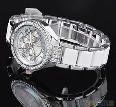 Cheap silver silver, Buy Quality silver watch directly from China silver wrist watch Suppliers: Women Watches Women Rhinestone Crystal Diamond Quartz Watch Wrist Watch silver Crystal Fashion, Gold Fashion, Luxury Fashion, Women's Fashion, Fashion Women, Diamond Quartz, Leather Watch Bands, Beautiful Watches, Crystal Bracelets