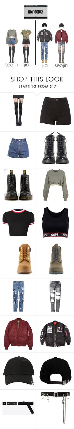 """""""not today cover: seojin & jia"""" by jj-covers ❤ liked on Polyvore featuring Pretty Polly, Dr. Martens, Ashish, UNIF, Timberland, OneTeaspoon, Alpha Industries, StyleNanda, Brixton and Yves Saint Laurent"""