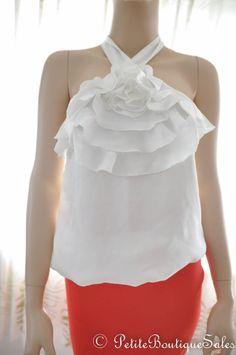 NEW WHITE SATIN RUFFLE BACK TIE TOP SHIRT BLOUSE SIZE M MEDIUM WOMEN'S CLOTHING