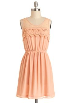 ooooo love this  Peach Julep Dress - Sheer, Knit, Woven, Mid-length, Pink, Solid, Crochet, Embroidery, Casual, A-line, Tank top (2 thick straps), Good, Scoop, Pastel